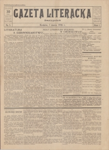 Gazeta Literacka : dwutygodnik. R. 1, 1926, nr 3, 1 III