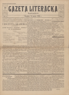 Gazeta Literacka : dwutygodnik. R. 1, 1926, nr 4, 15 III