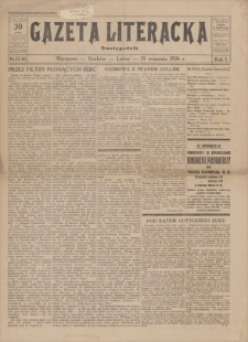 Gazeta Literacka : dwutygodnik. R. 1, 1926, nr 15-16, 15 IX