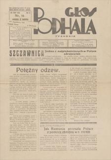 Głos Podhala : tygodnik. R. 11, 1939, nr 16, 16 IV