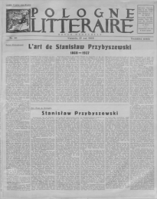 Pologne Litteraire : revue mensuelle. A. 3, 1928, nr 20 (15 mai)