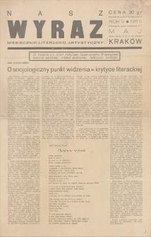 Nasz Wyraz : miesięcznik literacko-artystyczny. R. 5, [1938], nr 5, maj