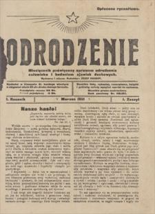 Odrodzenie : miesięcznik poświęcony sprawom odrodzenia człowieka i badaniom zjawisk duchowych. R. 1, 1921, z. 1, marzec