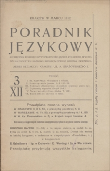 Poradnik Językowy : miesięcznik poświęcony poprawności języka polskiego. R. 12, 1912, nr 3, marzec