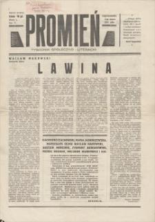 Promień : tygodnik społeczno-literacki. R. I, 1939, nr 7, 5 III