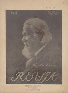 Rewia : wydawnictwo Księgarni E. Wende i Ska - Warszawa, H. Altenberg, G. Seyforth, E. Wende i Ska - Lwów, M. Niemierkiewicz - Poznań. R. 1, 1916, nr 1, 9 XI