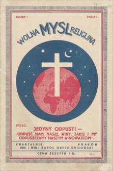 Wolna Myśl Religijna : kwartalnik. R. 1, [1936], nr 3, jesień