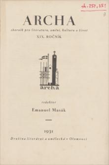 Archa : sbornik pro literaturu, uměni, kulturu a život. R. 19, 1931, svazek 2