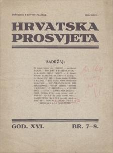 Hrvatska Prosvjeta. God 16, 1929, broj 7-8, 25 kolovoza