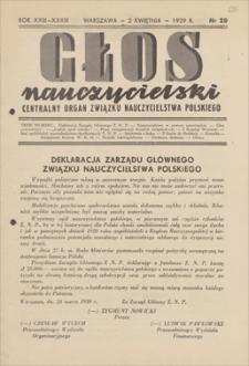 Głos Nauczycielski : Centralny Organ Związku Nauczycielstwa Polskiego. R. 23 (33), 1939, nr 28, 2 IV