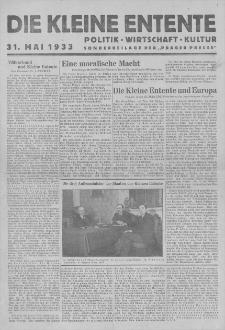 """Die Kleine Entente : politik, wirtschaft, kultur, sonderbeilage der """"Prager Presse"""". 1933, 31V"""