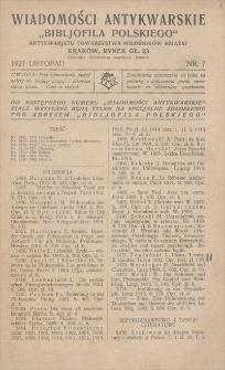 """Wiadomości Antykwarskie """"Bibljofila Polskiego"""" Antykwarjatu Towarzystwa Miłośników Książki. Nr 7, listopad 1927"""