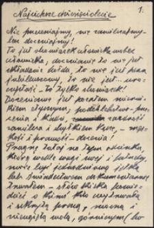 Twórczość Emila Zegadłowicza : Najcichsze dziesięciolecie, brulion artykułu
