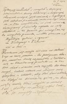 Korespondencja Emila Zegadłowicza. Listy Emila Zegadłowicza do Marii Kurowskiej (przyszłej żony) z lat 1914-1915