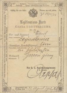Materiały biograficzne Emila Zegadłowicza : dokumenty osobiste – różne legitymacje