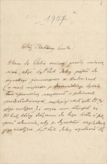 Korespondencja Emila Zegadłowicza. Listy Ludwika Misky'ego do Emila Zegadłowicza z lat 1907-1918