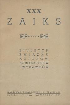 Zaiks : Biuletyn Związku Autorów, Kompozytorów i Wydawców. R. XII, 1948, nr 5 (marzec)