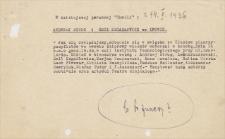 Papiery Emila Zegadłowicza dotyczące wieczorów dyskusyjnych, koncertów, odczytówTwórca:Zegadłowicz, Emil (1888-1941)