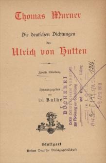 Thomas Murner : die deutschen Dichtungen des Ulrich von Hutten