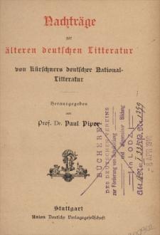 Nachträge zur älteren deutschen Litteratur von Kürschners deutscher National-Litteratur