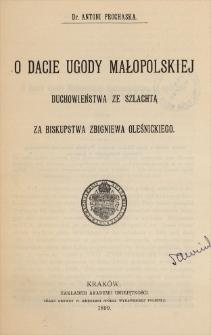 O dacie ugody Małopolskiej duchowieństwa ze szlachtą za biskupstwa Zbigniewa Oleśnickiego