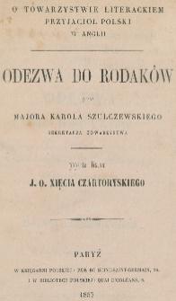 O Towarzystwie Literackim Przyjaciół Polski w Anglii : odezwa do rodaków