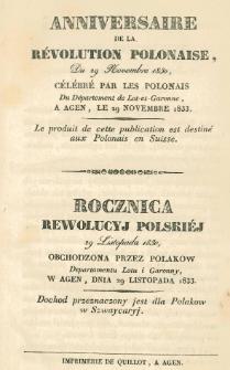 Anniversaire de la révolution polonaise, Du 29 Novembre 1830, célébré par les Polonais Du Département de Lot-et-Garonne, a Agen, le 29 Novembre 1833