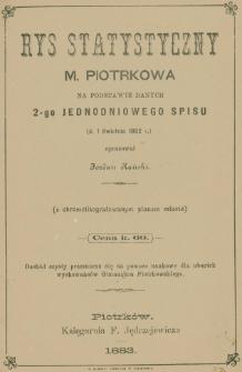 Rys statystyczny m. Piotrkowa na podstawie danych 2-go jednodniowego spisu (d.1 kwietnia 1882 r.) : (z chromolitografowanym planem miasta)