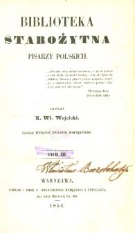 Biblioteka starożytna pisarzy polskich. T. 3