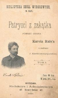 Patryoci z zakątka = (Západli vlastenci) : powieść czeska. T. 1