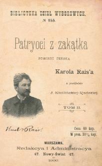 Patryoci z zakątka = (Západli vlastenci) : powieść czeska. T. 2