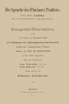 Die Sprache des Florianer Psalters. 1 T., Lautlehre
