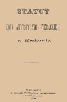 Statut Koła Artystyczno-Literackiego w Krakowie