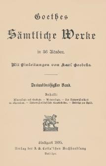 Goethes sämtliche Werke in 36 Bänden. Bd. 33