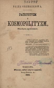 Patryotyzm i kosmopolityzm : studyum społeczne