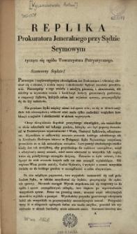 Replika prokuratora jeneralnego przy Sądzie Seymowym tycząca się ogółu Towarzystwa Patryotycznego