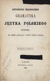 Antoniego Małeckiego Gramatyka języka polskiego mniejsza dla użytku gimnazyów i szkół realnych ułożona.