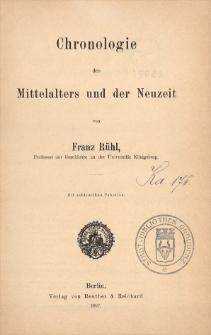 Chronologie des Mittelalters und der Neuzeit