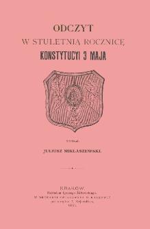 Odczyt w stuletnią rocznicę Konstytucji 3 Maja