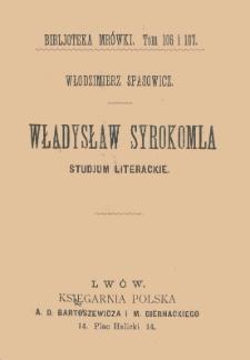Władysław Syrokomla : studjum literackie
