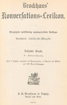 Brockhaus' Konversations-Lexikon : Allgemeine deutsche Real-Encyklopädie in sechzehn Bänden. Bd. 10, K- Lebensversicherung