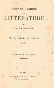 Nouveau cours de littérature : éloquence moderne. T. 1