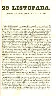 29 Listopada : obchód narodowy polski w Paryżu r. 1842