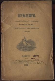 Sprawa młodej emigracyi polskiej po wypadkach 1848, w latach 1850-1861 do Anglii przybyłej