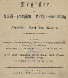 Register zur deutsch-polnischen Gesetz-sammlung fur die Koniglichen Preusischen Staaten
