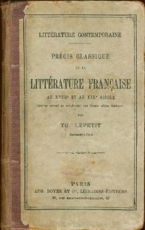 Littérature contemporaine : précis classique de la littérature française au XVIIIe et au XIXe siècle