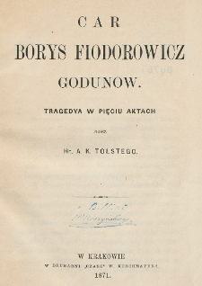 Car Borys Fiodorowicz Godunow : tragedya w pięciu aktach