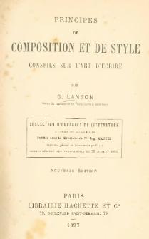 Principes de composition et de style : conseils sur l'art d'écrire
