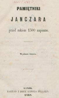Pamiętniki Janczara przed rokiem 1500 napisane