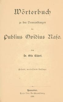 Wörterbuch zu den Verwandlungen des Publius Ovidius Naso